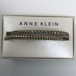 Set of Two Antique Gold Tone Bangle Bracelets